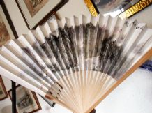 "VINTAGE WOODEN ORIENTAL FAN MOUNT FUJI PRINT ON CARD GOOD SIZE 13"" GREAT COND"
